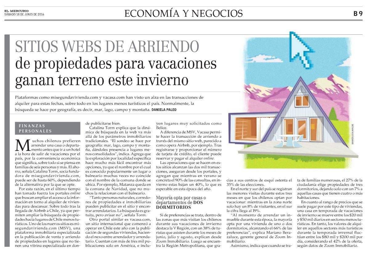 Prensa: Mi Segunda Vivienda en Economía y Negocios del Mercurio